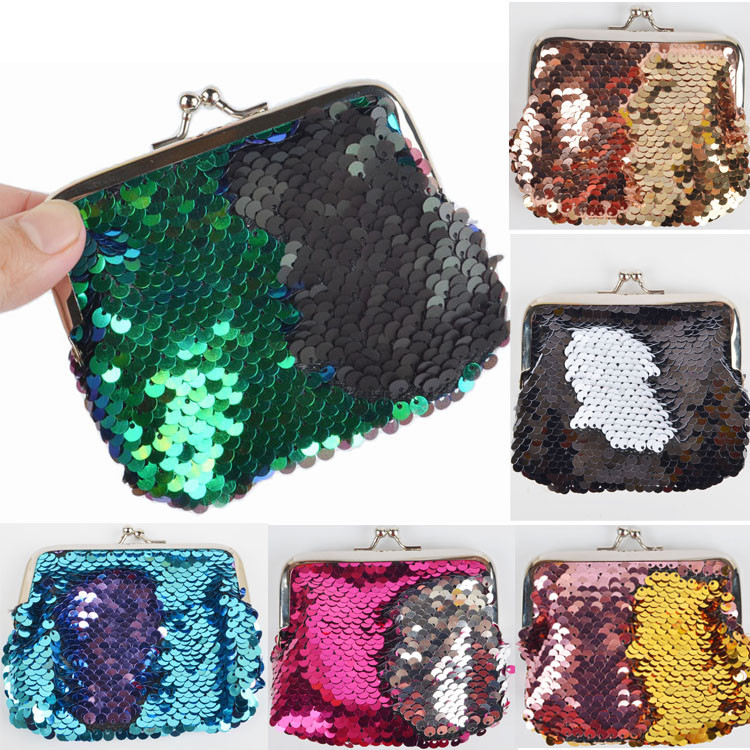 Kid Girl Mermaid Sequin Coin Purse Mini Wallet Small Bag photo