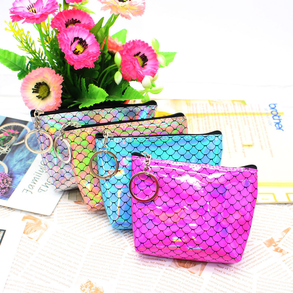 Women Girl Printing Flower Snacks Coin Purse Wallet Bag Change Pouch Key photo