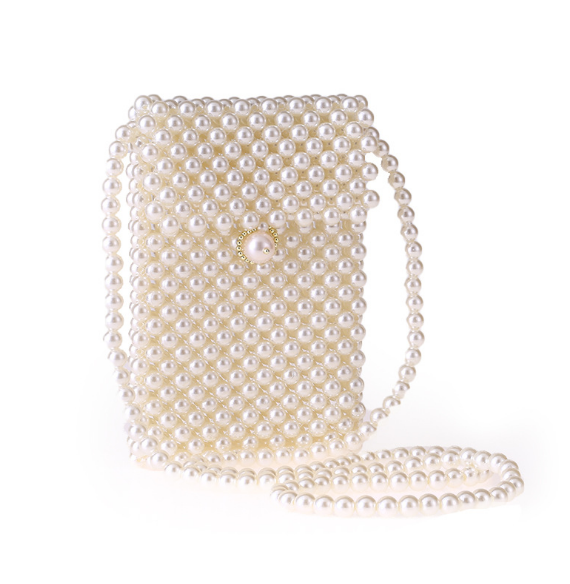 Women Pearl Beaded Evening Clutch Handbags Wedding Party Bags Purse - photo