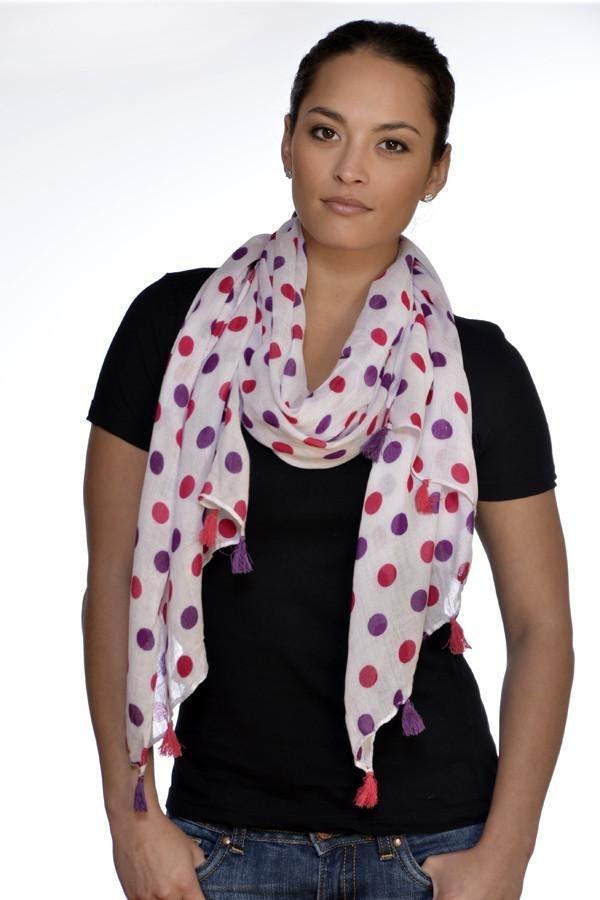 Amtal_Women_Lightweight_Soft_Casual_Pink_Purple_Polka_Dots_Pattern_Scarf