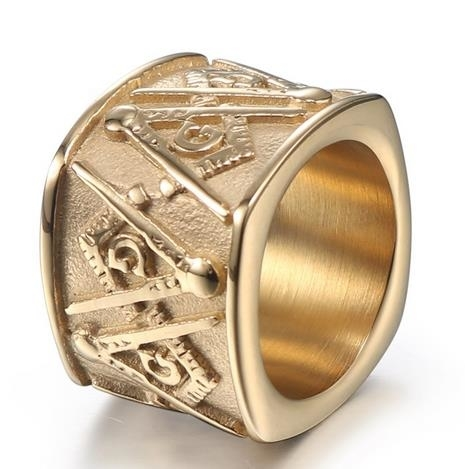 Retro_Titanium_Steel_Men's_Ring_Golden_Masonic_Sign_Stainless_Steel_Ring