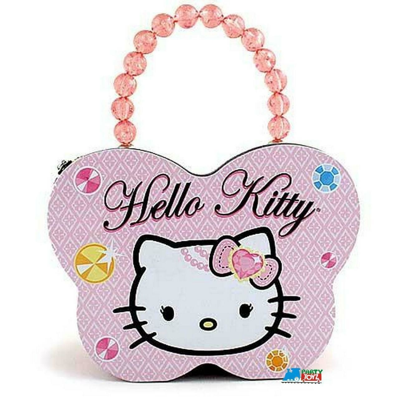 Hello Kitty Tin Stationery Clutch Beaded Butterfly Purse - Pink (ZA0901) photo