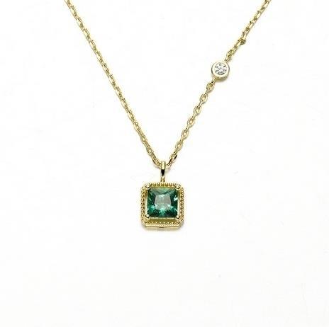 Princess_Fang_Emerald_Zirconium_Necklace_925_Simple_Gold-plated_Neckla