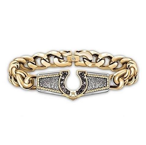 New_Western_Jeans_Horseshoe_Bracelet_Fashionable_18K_Gold_U-shaped_Bra