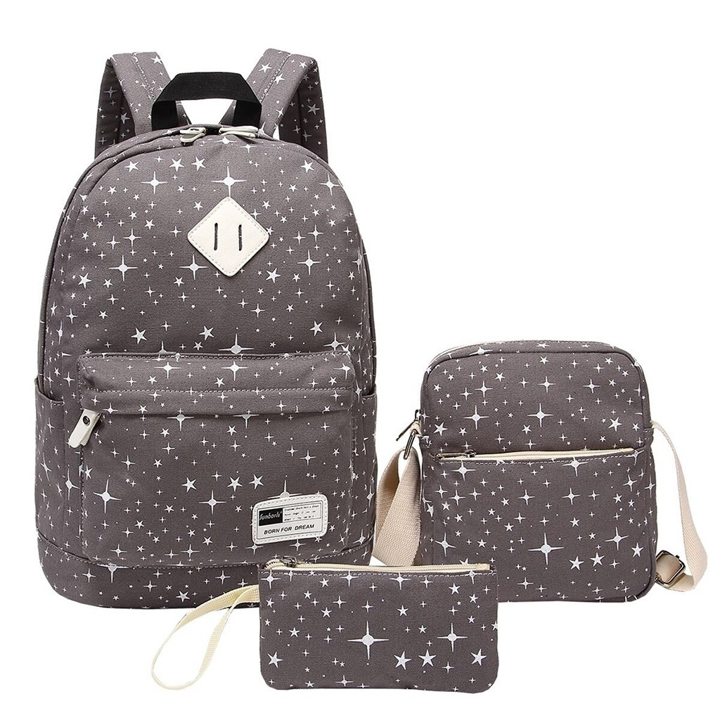 3PC Women Ladies Girl Canvas Laptop Star Handbag?Shoulder?Backpack Purse (SCH90718831GY) photo