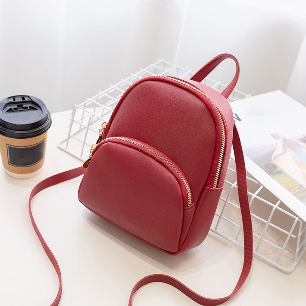 Women Shoulders Small Backpack Letter Purse Mobile Phone Messenger Bag (LYH90708414RD) photo