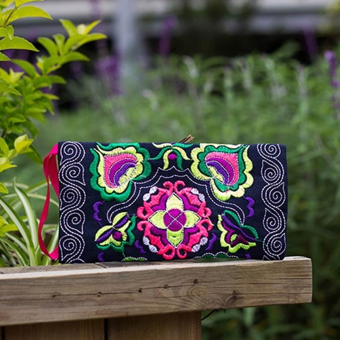 Women Ethnic Handmade Embroidered Wristlet Clutch Bag Vintage Purse Wallet photo