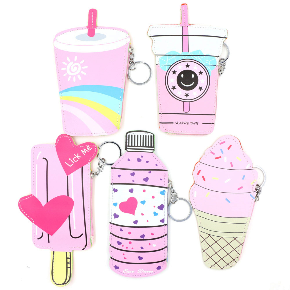 Cartoon Women Coin Purses Handbags Cute Icecream Bottle Leather Pouch (LYH80626411C_huazada) photo