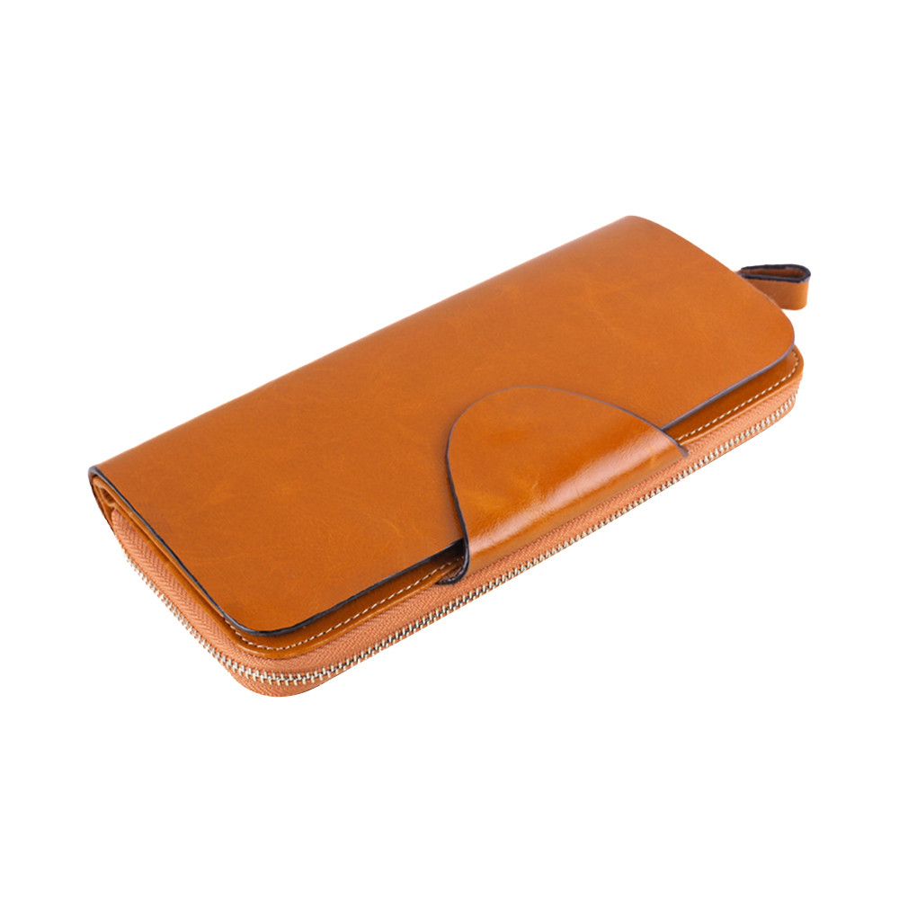 Zipper clutch take the first layer of oil wax leather long unisex purse (UPWHH71106003CM) photo