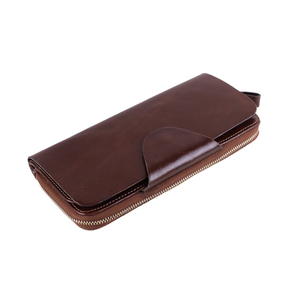 Zipper clutch take the first layer of oil wax leather long unisex purse (UPWHH71106003CO) photo