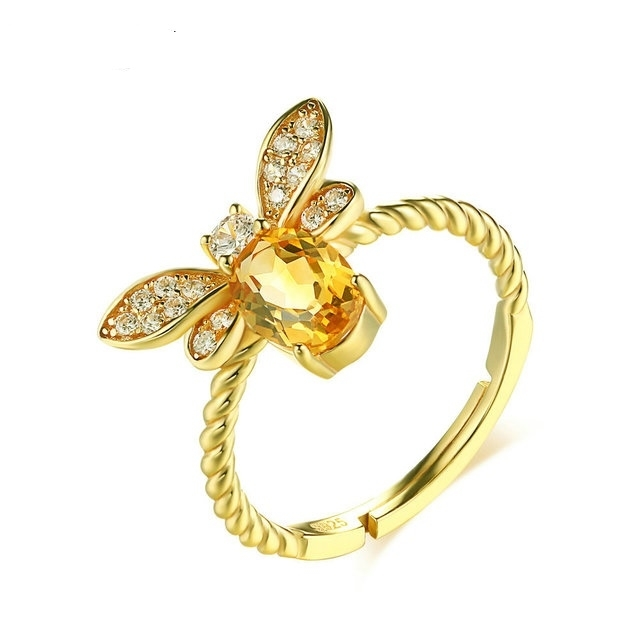 925_Pure_Silver_Coloured_Jewelry_Natural_Yellow_Crystal_14K_Gold_Bee_Opening