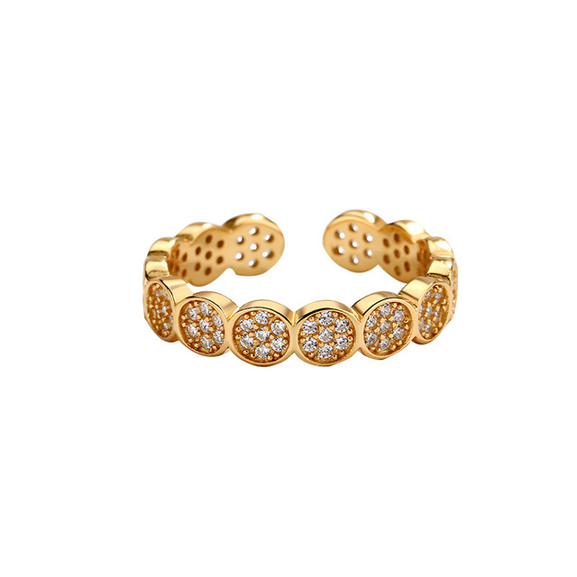 New_Simple_and_Fashionable_Seven-Ring_Zircon_Gold-plated_Silver_Ring