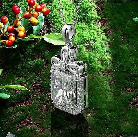 S925_Silver_Square_9*12_Car_Flower_Necklace_Light_Luxury_Diamond_Necklace