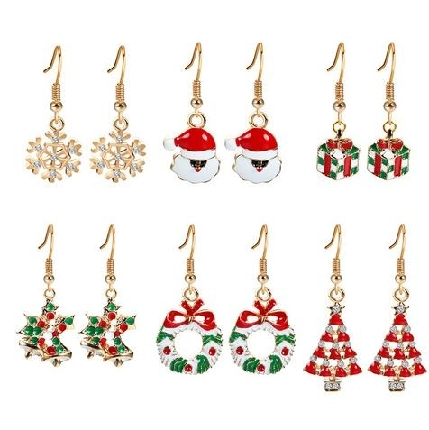 Christmas_Earrings_Set_Christmas_tree_christmas_cap_snowflake_Six_Piece