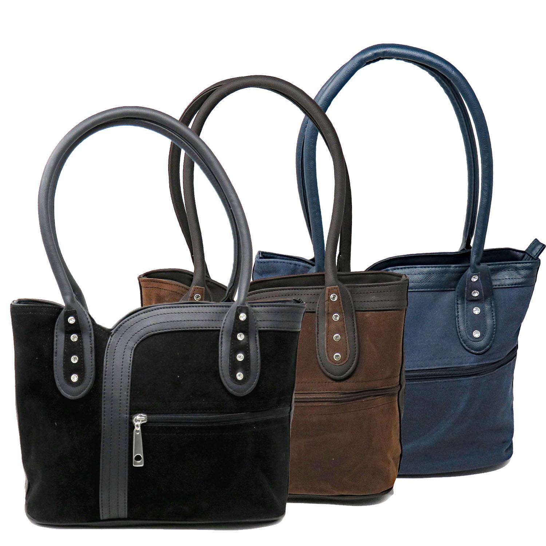 Women Purse Suede Shoulder Bag Casual (CA-178NVY) photo