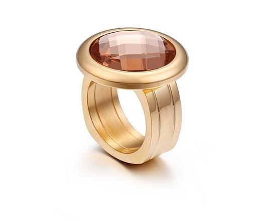 New_titanium_steel_ring_gold_fine_glass_ring_-_white,_6