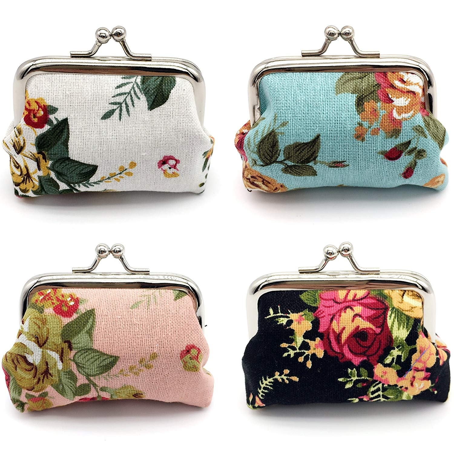 4pc Women Girl Canvas Floral Coin Purse Clutch Pouch Wallet Value Set (20191120SY3) photo