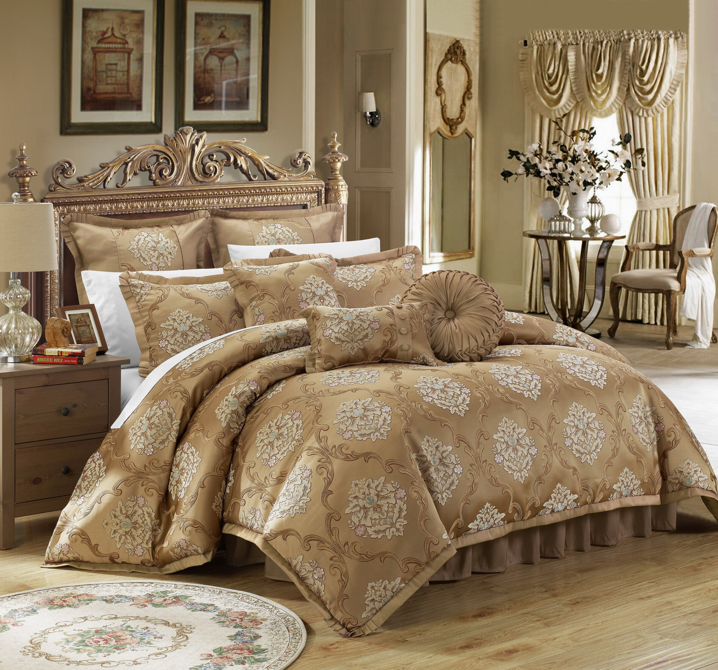 9 Piece Aubrey Decorator Upholstery Quality Jacquard Scroll Fabric Complete Master Bedroom Comforter Set And Pillows Ensemble Gold Queen On Opensky Ibt Shop