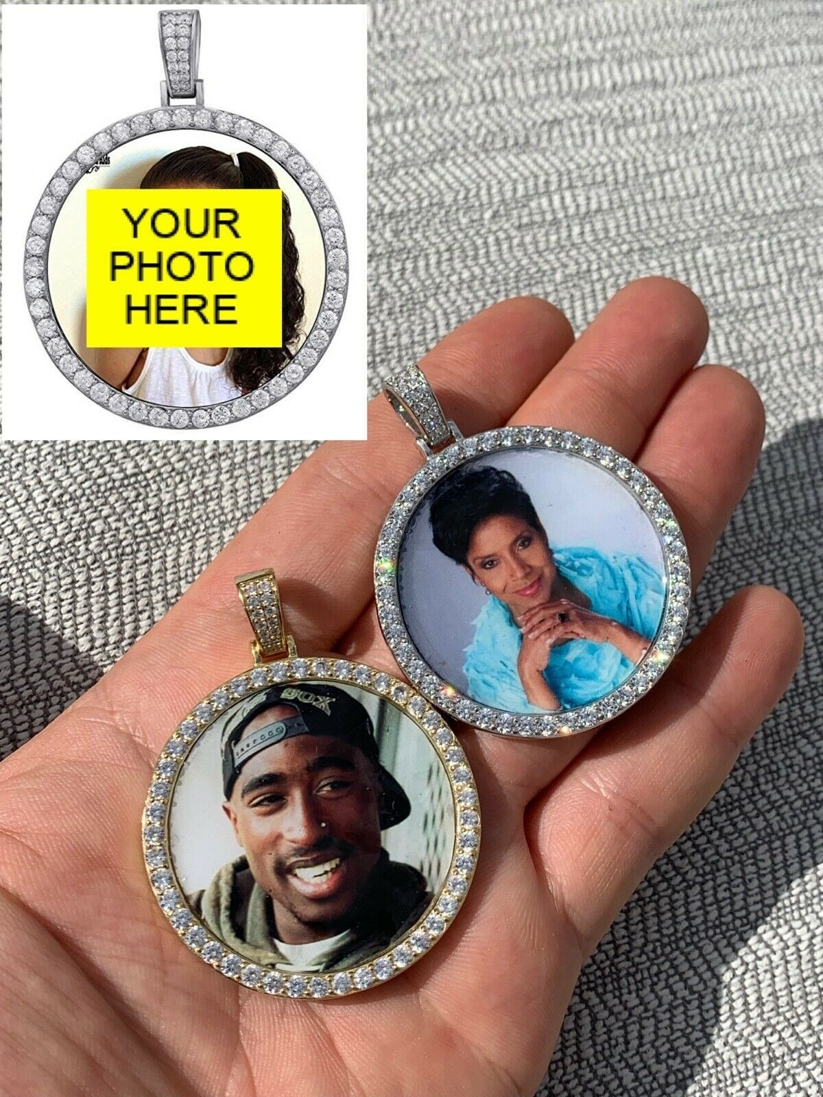 Solid_925_Silver_Custom_Hip_Hip_Photo_Pendant_Iced_CZ_Picture_Flooded