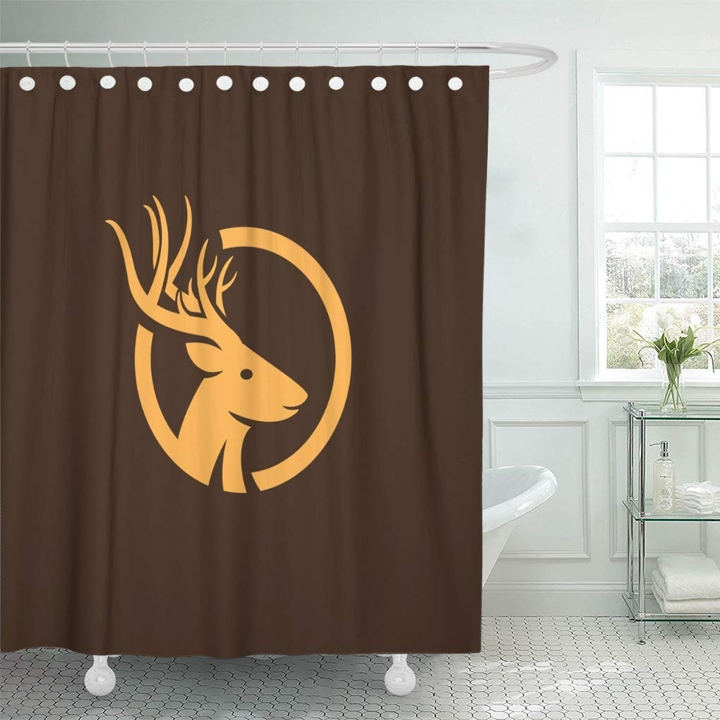 Antler Abstract Deer Camp Hunting Silhouette Bathroom Shower