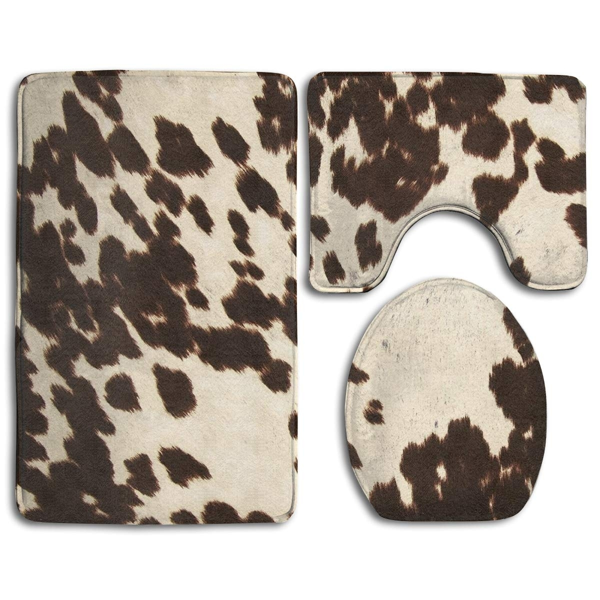 Best Selling Brown Cowhide 3 Piece Bathroom Rugs Set Bath Rug Contour Mat And Toilet Lid Cover Accuweather Shop
