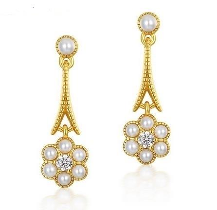 925_silver_9K_GOLD_light_luxury_shell_pearl_flower_long_earrings