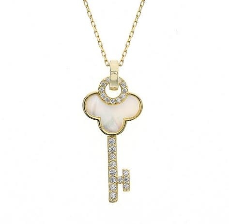 S925_Sterling_Silver_Diamond_Key_Necklace_female_white_shell_clavicle