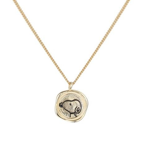 S925_pure_silver_gold_cartoon_dog_Snoopy_necklace_with_irregular_desig