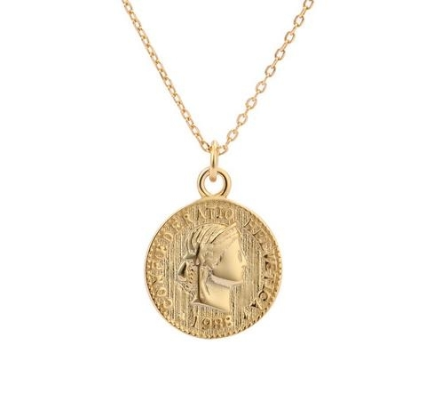 S925_Sterling_Silver_Necklace_female_Gold_Round_Coin_Necklace_US_dollar
