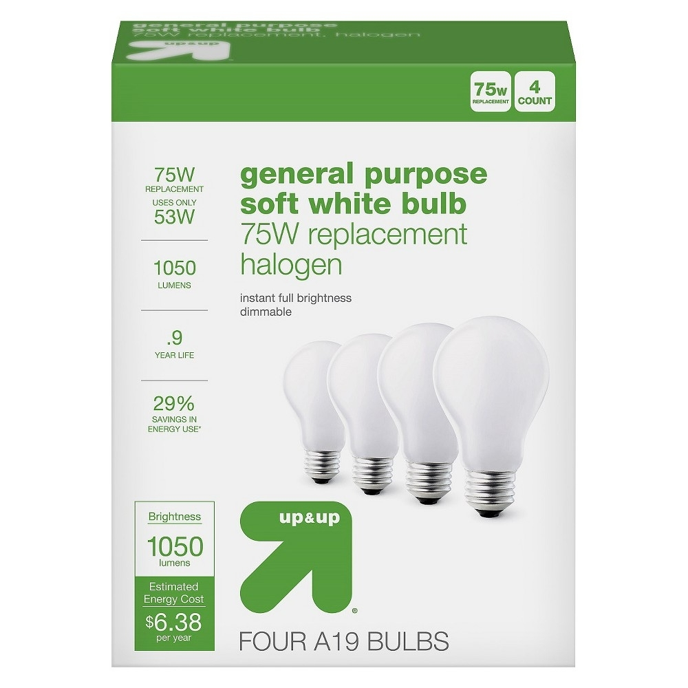 Light Bulb Halogen General Purpose Soft White 4pk 75w - up & up