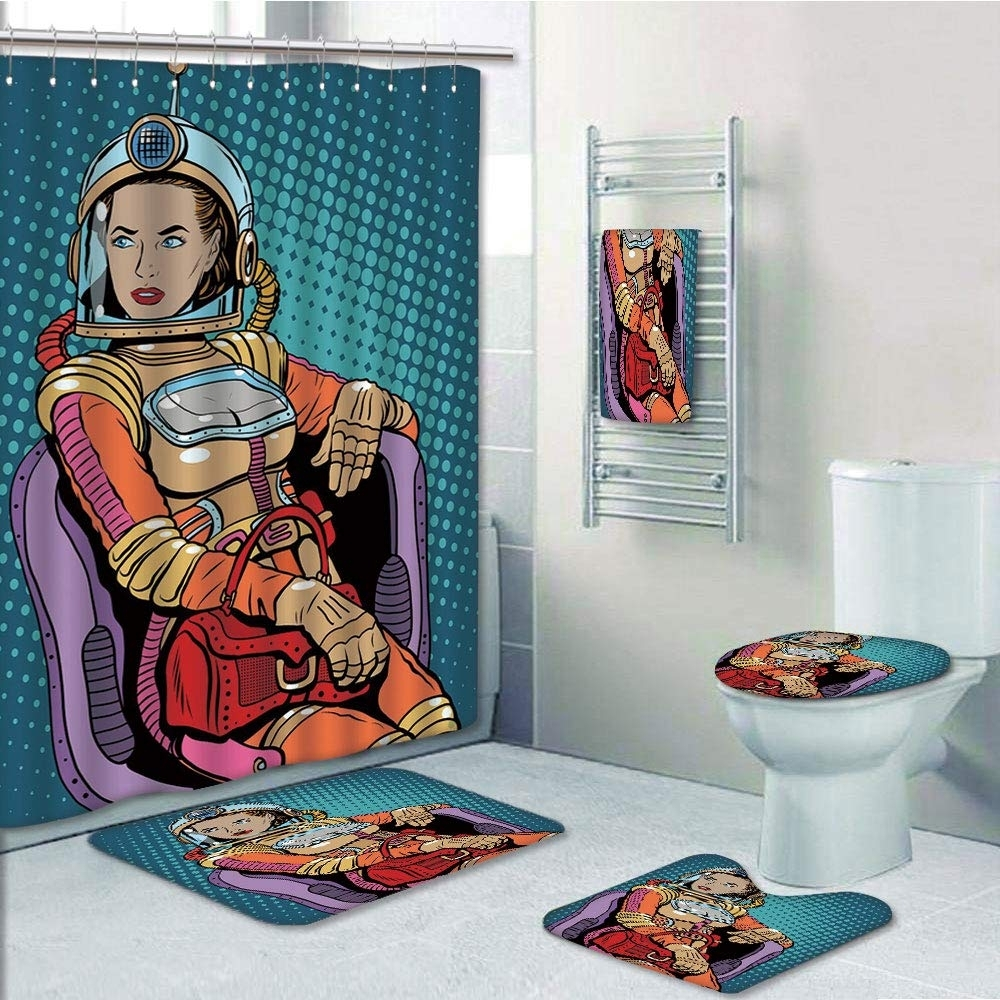 Astronaut Retro Inspired Space Lady with Purse on a Chair Girl Power Womens (5SET-PRTAU-8660) photo