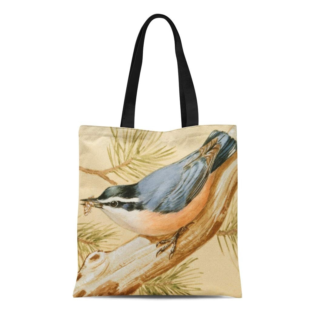 Canvas Tote Bag Birds Red Breasted Nuthatch Walter Feathers Flight Wings (LADDKE-tote-3308) photo