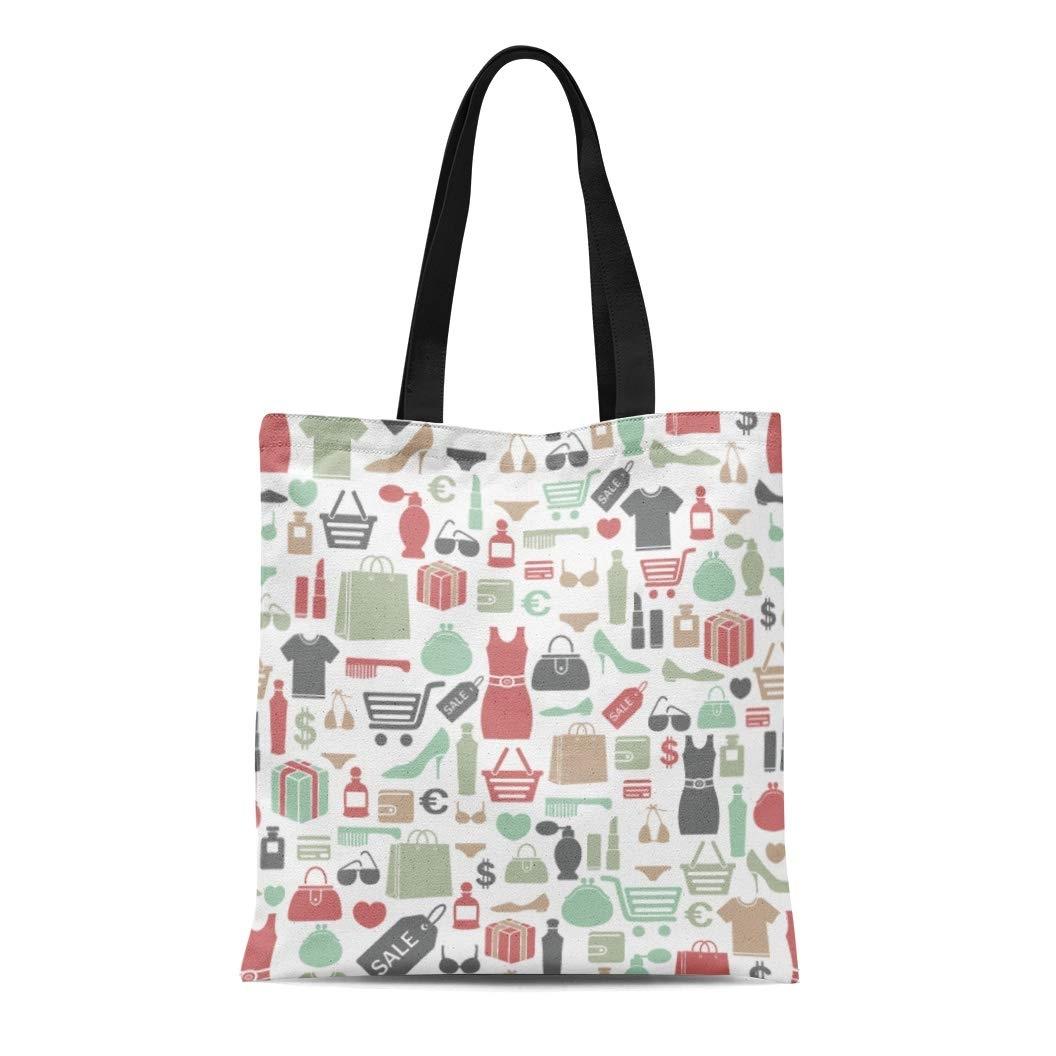 Canvas Tote Bag Woman Colorful Shopping Pattern Beauty Makeup Purse Dress photo
