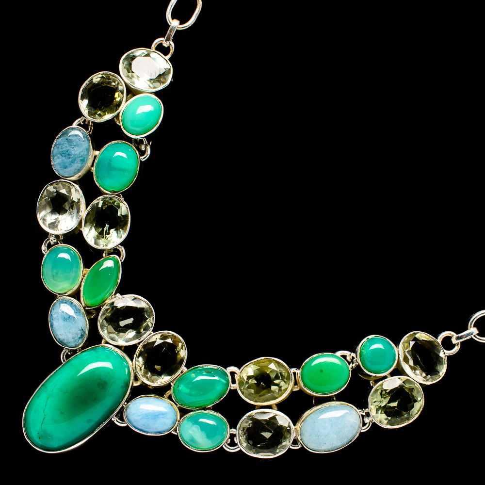 """""""Turquoise,_Green_Onyx,_Aquamarine,_Green_Amethyst_Necklace_19""""""""_(925_Sterling"""""""