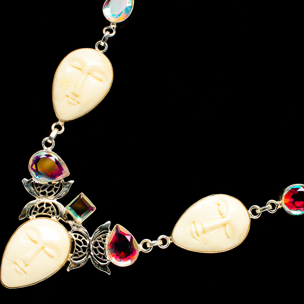 """""""Carved_Face,_Mystic_Topaz_Necklace_18_To_19""""""""_(925_Sterling_Silver)__-"""""""