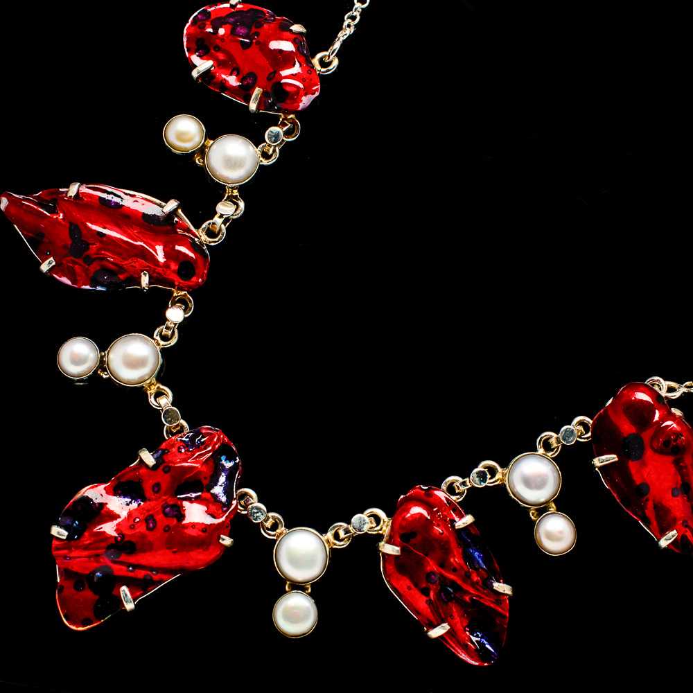"""""""Dichroic_Glass,_Cultured_Pearl_Necklace_18_To_19""""""""_(925_Sterling_Silver)"""""""