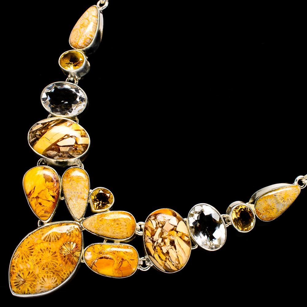 """""""Fossil_Coral,_Brecciated_Mookaite,_Citrine_Necklace_18""""""""_(925_Sterling"""""""