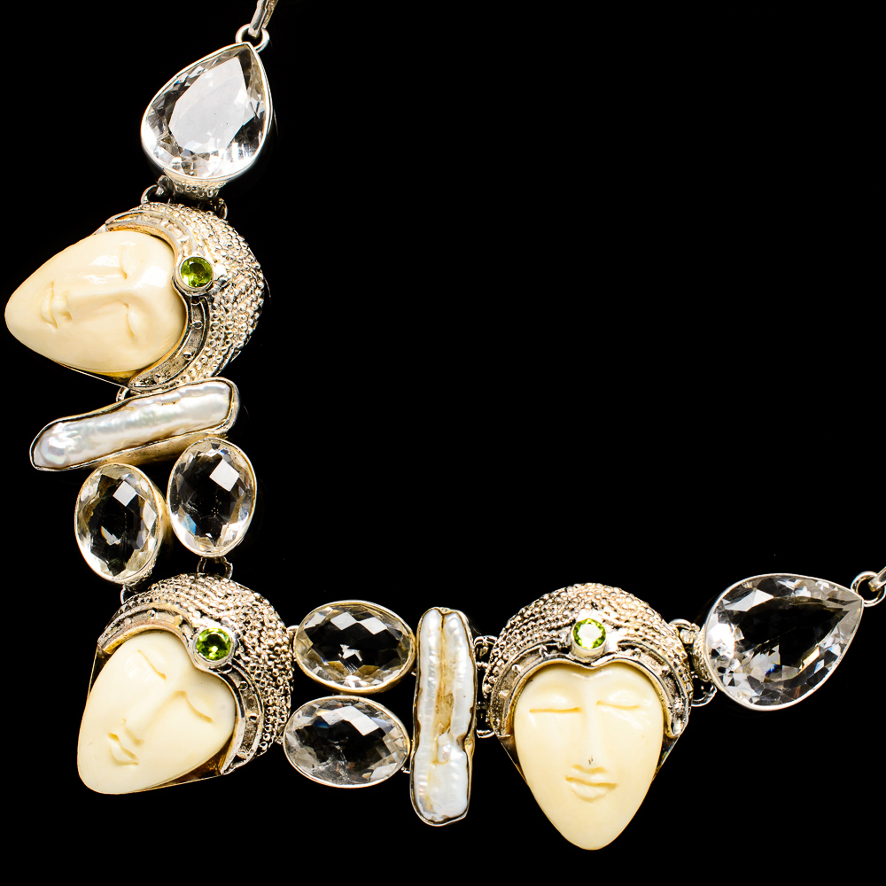 """""""Carved_Face,_White_Quartz,_Peridot_Necklace_17""""""""_(925_Sterling_Silver)"""""""