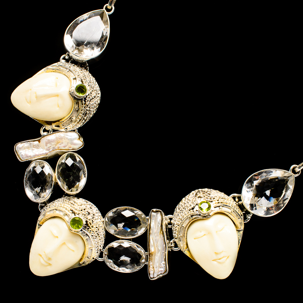 """""""Carved_Face,_White_Quartz,_Mother_Of_Pearl,_Peridot_Necklace_18""""""""_(925"""""""
