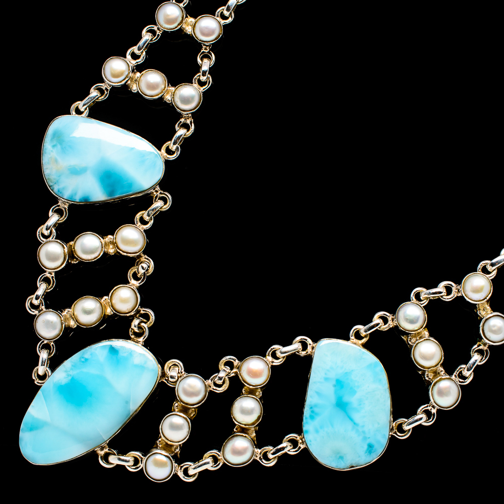 """""""Larimar,_Cultured_Pearl_Necklace_18""""""""_(925_Sterling_Silver)__-_Handmade"""""""