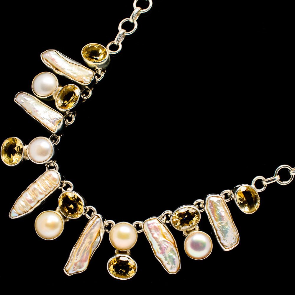 """""""Mother_Of_Pearl,_Citrine,_Cultured_Pearl_Necklace_18_To_19""""""""_(925_Sterling"""""""