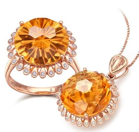New_color_treasure_yellow_crystal_ring_pendant_set