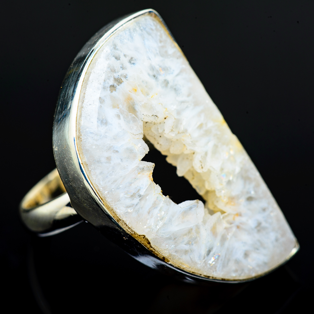 Natural Sunflower Agate Ring Solid 925 Sterling Silver Handmade Jewelry Size 9.5