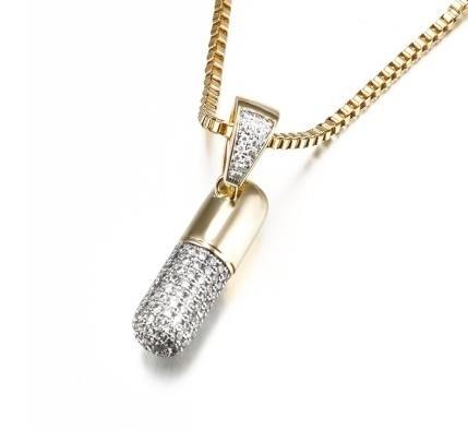 Punk_platinum_zircon_pill_pendant_hip_hop_electroplated_K_gold_capsule