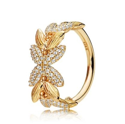 ring_S925_silver_plated_18K_gold_ring_dazzling_wheat_grain_elegant_temperament