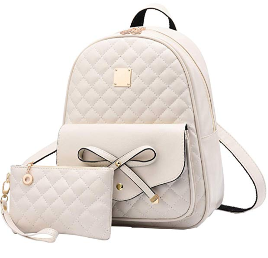 Girls Bowknot 2-PCS Backpack Purse, Beige (S306487-Brown) photo