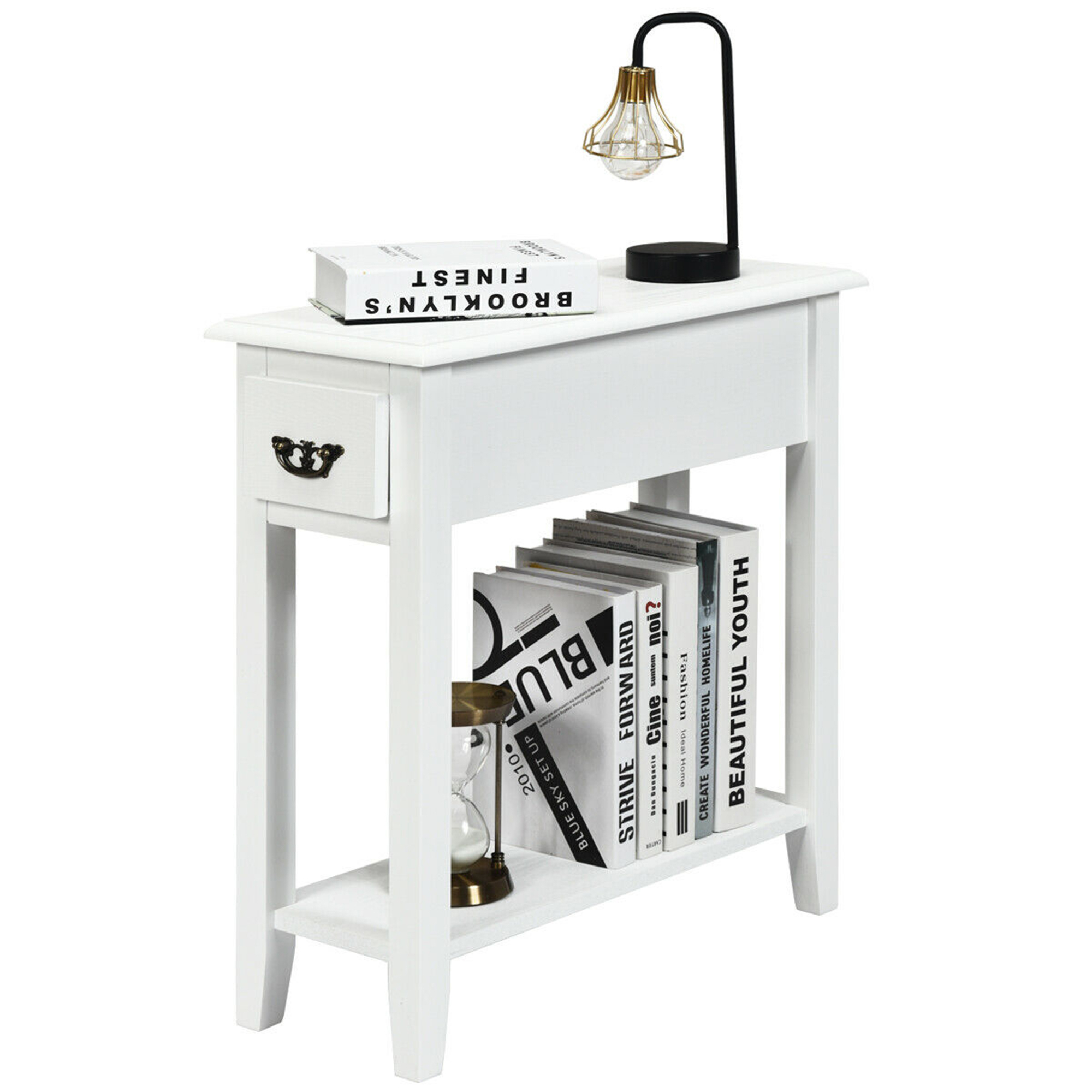 Gymaxgymax 2 Tier End Bedside Sofa Side Table Narrow Nightstand W Drawer Shelf White Dailymail